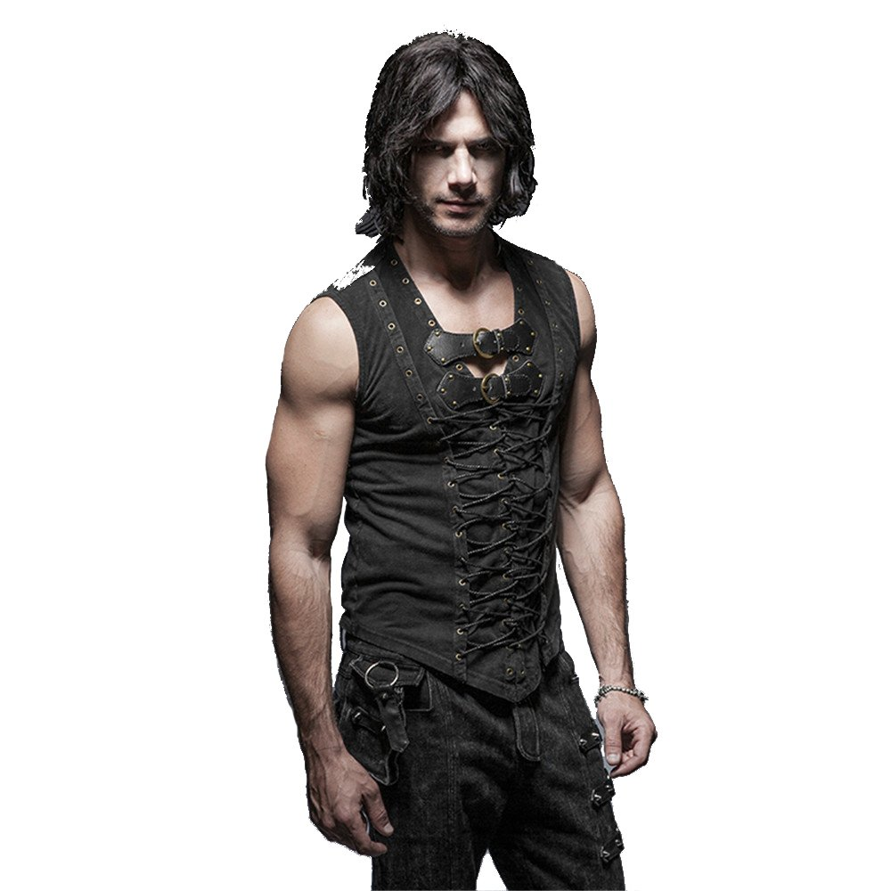 Punk Rock Man Cotton Leather Belt Sleeveless T-shirt Front Strap Vest Bandage Casual Tank Tops (XXXL)