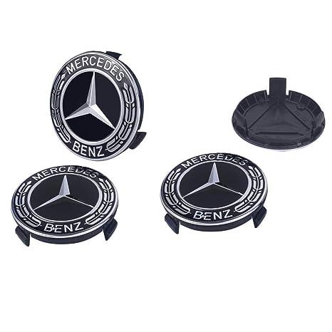 Mercedes Auto Parts >> Gaocar Auto Parts 4pack Mercedes Benz Wheel Center Hub Caps Emblem 75mm Rim Black Hubcaps For Benz C Ml Cls S Gl Sl E Clk Cl Gl Center Cap Badge