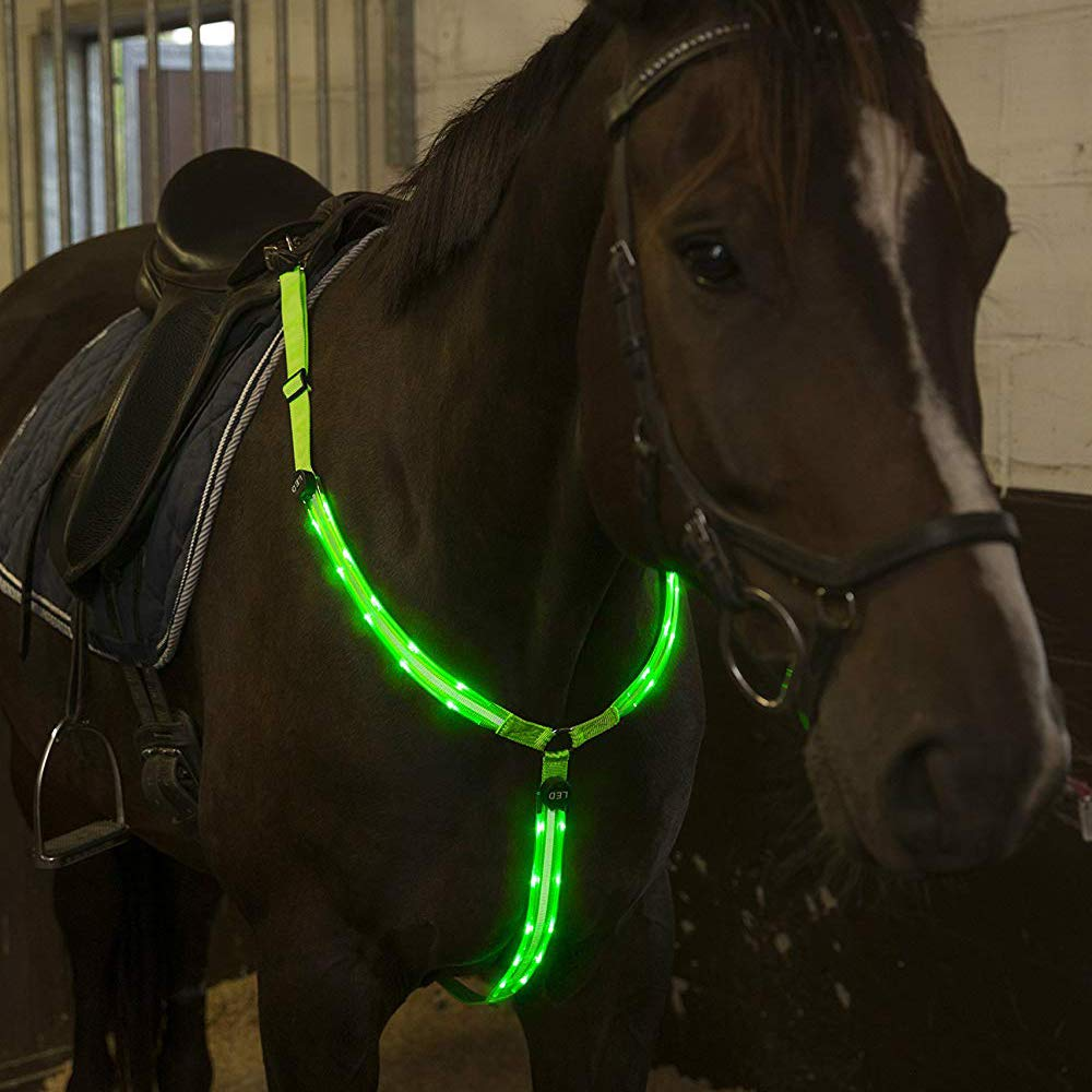 AZLZM LED Horse Breastplate Collar,High Visibility Tack for Riding,Adjustable Safety Gear,Green by AZLZM