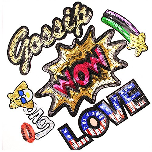 4-10in Assorted Size Letter Iron On Glitter Sequin Decoration Patches DIY Sew On Patch for Jeans Clothing Hat