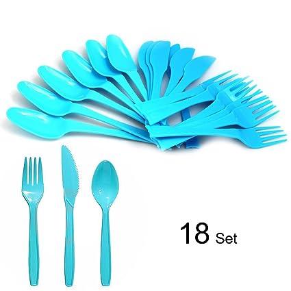 Fiesta/Picnic/casa/oficina reutilizable Combo resistente plástico cubiertos 18 piezas (6
