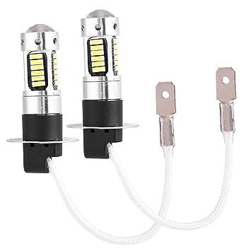 Par de bombilla H3, 4014 chips de LED, LED blanco faro antiniebla del coche, lámpara de bombilla DRL, DC 12V, 550LM: Amazon.es: Coche y moto