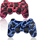 PS3 Controller Wireless 2 Pack Thunderbolt Style Dual Shock Gaming Controller for Sony Playstation 3 with Charging Cord(Blue+Red)