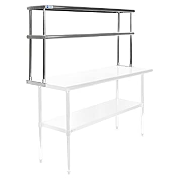 gridmann nsf stainless steel commercial kitchen prep work table 2 tier double overshelf 60 - Kitchen Prep Table Stainless Steel