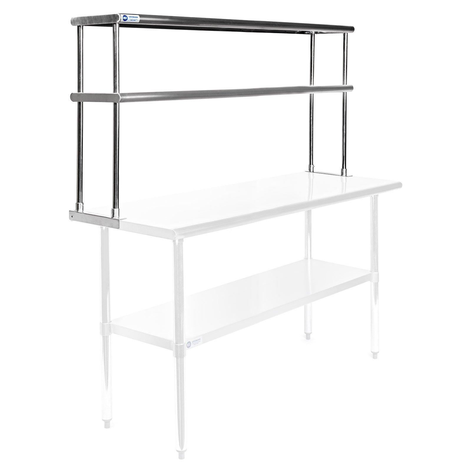 GRIDMANN NSF Stainless Steel Commercial 2 Tier Double Overshelf - 60 in. x 12 in. - for Kitchen Prep & Work Table