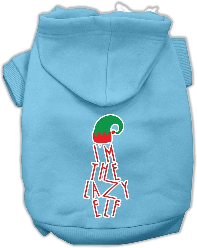 Mirage Pet Products Lazy Elf Screen Print Pet Hoodie, Baby bluee, XX-Large Size 18