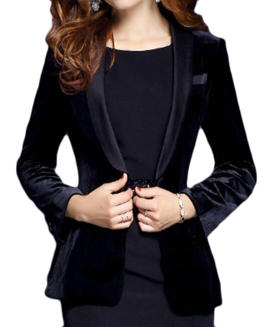 Alion Women Velvet Solid Color OL Classic Suit Blazer Black L