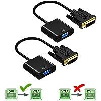 Friencity DVI a VGA Activa el convertidor del Adaptador, Macho a Hembra M/F DVI-D 24 + 1 Enlace al vídeo VGA Cable Adaptador soporta 1080P para la PC DVD Monitor de Pantalla HDTV 2PCS