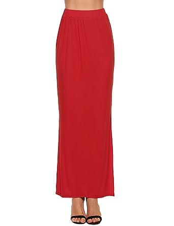 1bfec50207 Zeagoo Lightweight Long Skirt For Women Ankle Length Maxi Slit Skirt ...