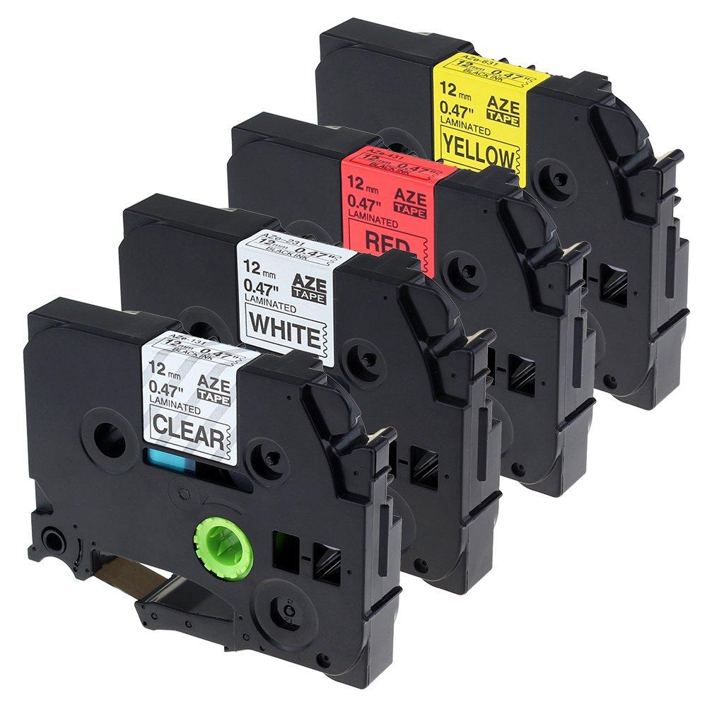 Lot de 4 Équivalent Ruban Brother P touch TZe-131 / TZe-231 / TZe-431 / TZe-631 12mm x 8m / Compatible avec Etiqueteuse Brother P touch 1000 Unistar