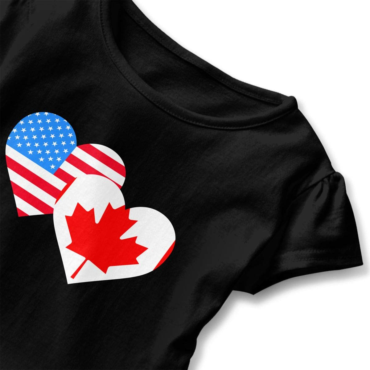 HYBDX9T Little Girls American Canada Heart Flag Funny Short Sleeve Cotton T Shirts Basic Tops Tee Clothes