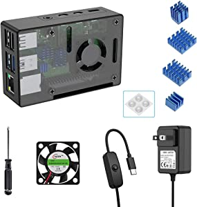 Newding Case for Raspberry Pi 4 Model B with Fan and Power Supply, 1 PCS Cooling Fan, 5.1V 3A USB-C Power Supply with ON/Off Switch, 4PCS Aluminum Radiator, 4PCS Rubber feet (RPI 4 Board Not Included)