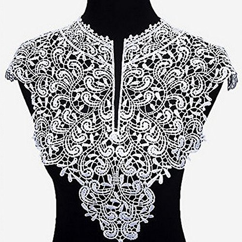 - USJee 1 Set (Front and Back) White Embroidered Lace Patches for Wedding Dress Applique Collar Decor