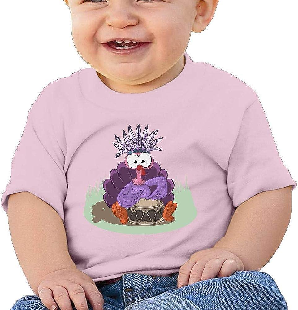 AiguanHalloween Turkey Toddler//Infant Short Sleeve Cotton T Shirts Pink
