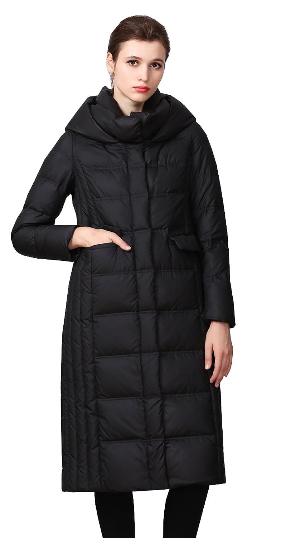 Black MedzRE Women's Elegant Long Warm Hooded Quilted Down Coat Parka