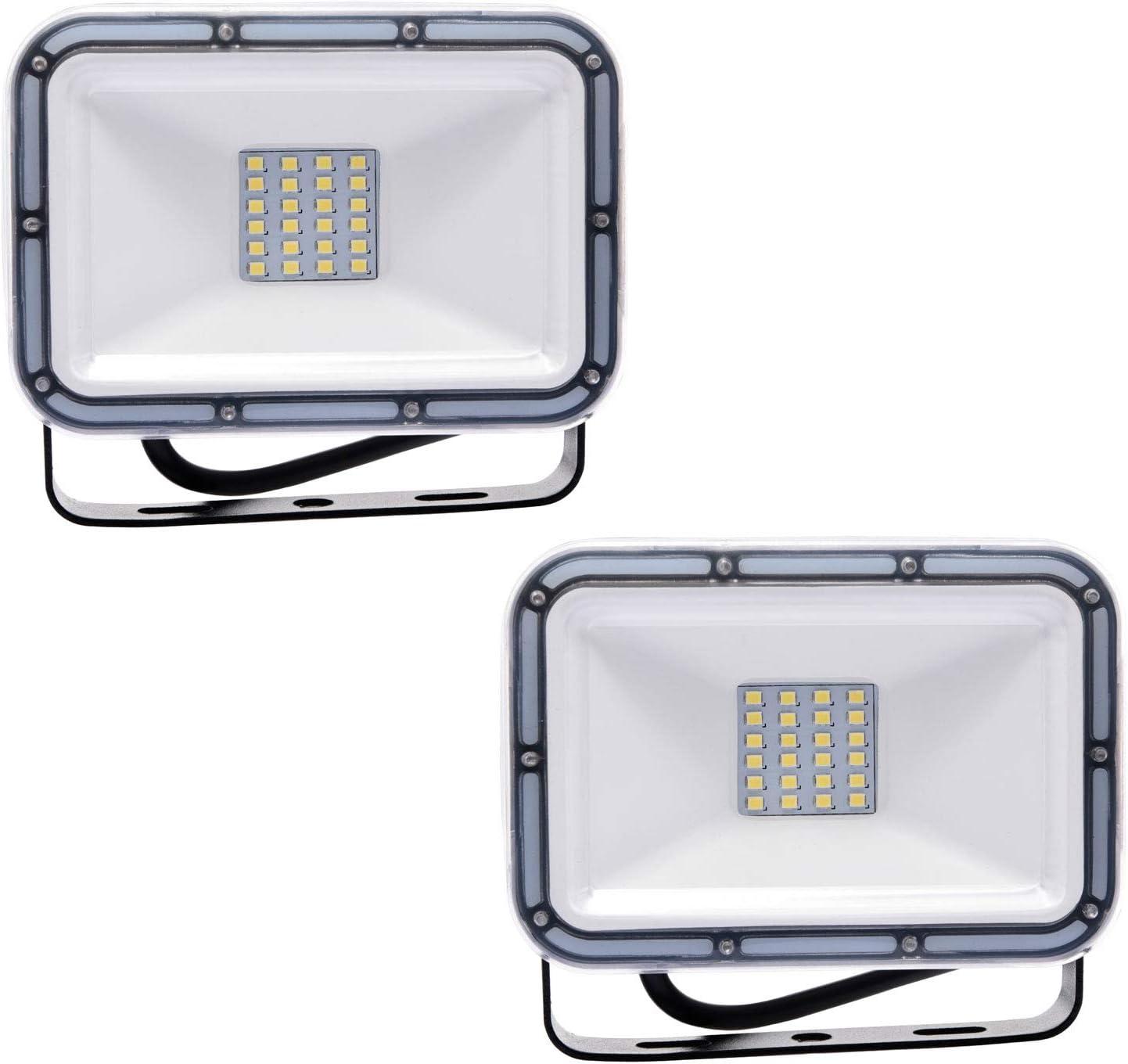 MTX-Racks Luz de Seguridad al Aire Libre de 20W, Reflector LED, Luces de jardín IP67 Impermeable IP67 de 1600lm para patateado, jardín Trasero, garajes, estacionamiento,20W-2 Pack
