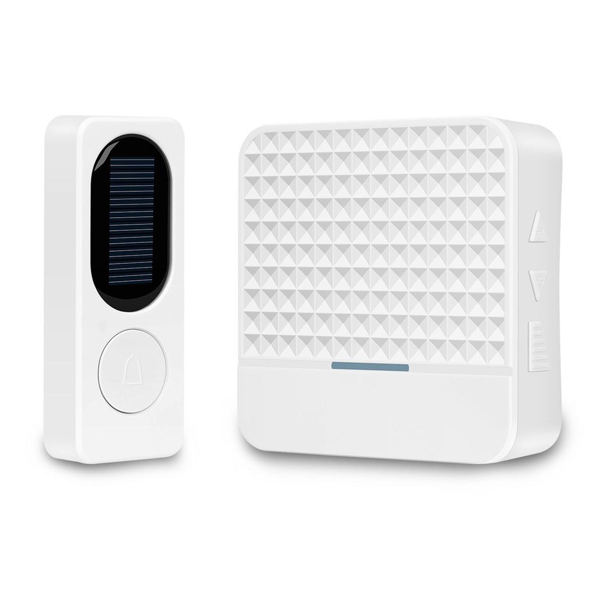 Solar Wireless Door Bell, Ardwolf Door Bell Ring with Solar Rechargeable Battery Operated, Waterproof Doorbell Kit, 1000ft Range, 52 Chimes, 4 Volume Level, Night Light