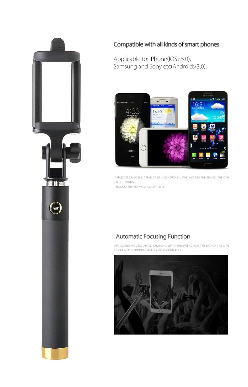 Selfie Stick Locust Series, Connects To Bluetooth Smartphone, Integrated Foldable Smart Shooting Aid, iPhone 6 5s, Samsung Galaxy S6 S5, Android (Asst Colors) (Gold)