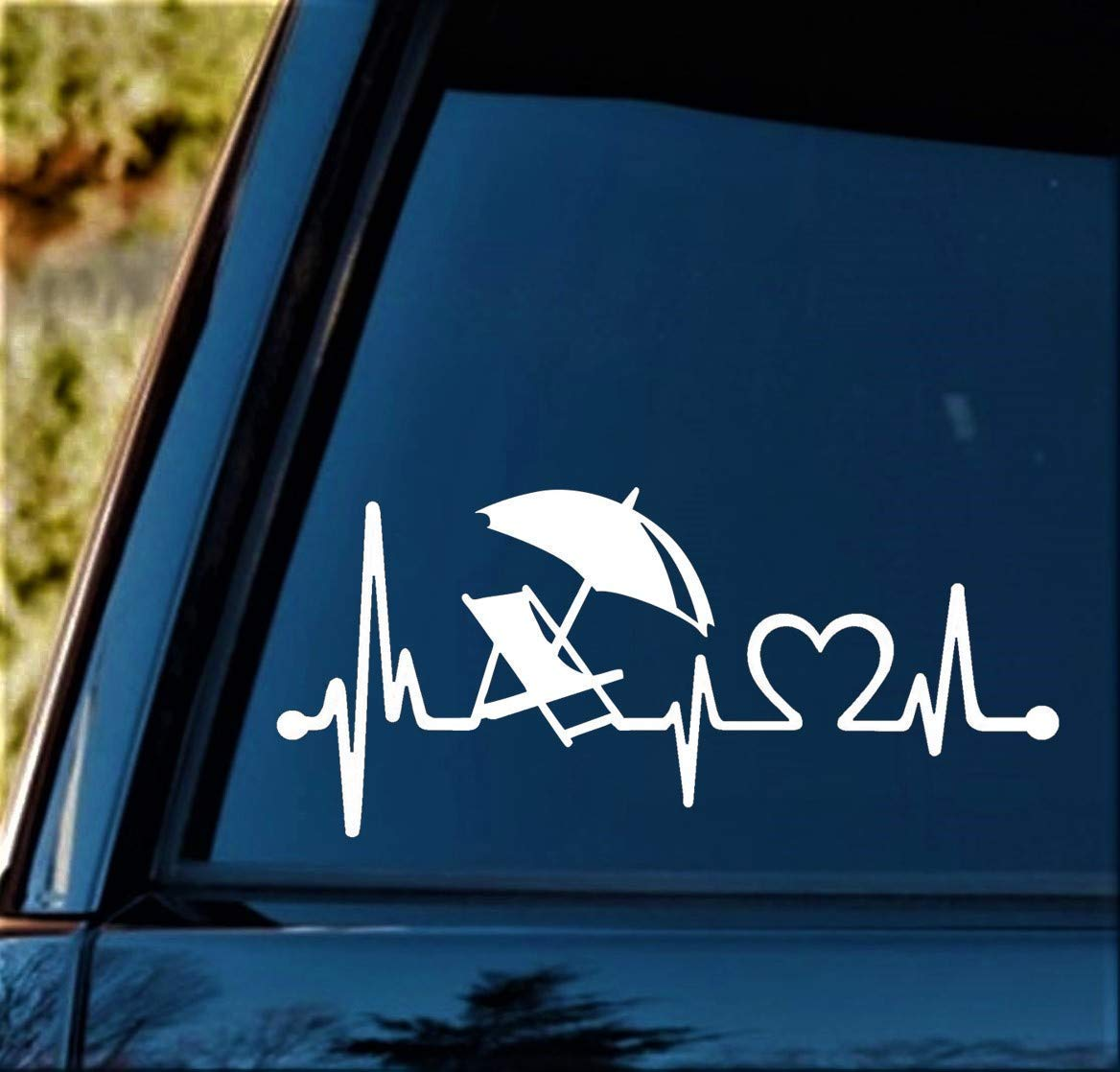 BG 369 8 Inch Beach Chair Umbrella Heartbeat Decal Sticker for Car Window