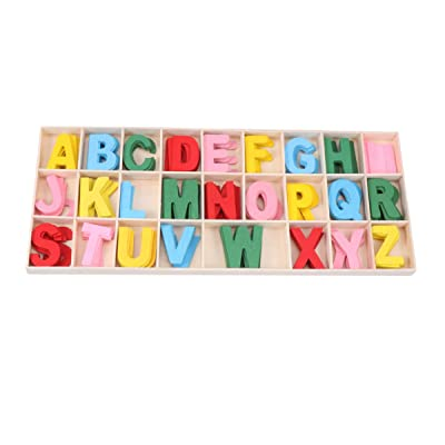 Milisten 1 Set Wooden Craft Letters Portable Small Wooden Alphabet Educational Playthings Learning Toy for Home Kindergarten School: Arts, Crafts & Sewing