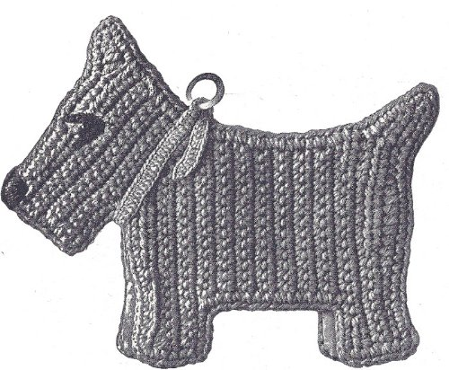 ERN to make - Pot Holder Scotty Dog Scottie Hot Pad. NOT a finished item. This is a pattern and/or instructions to make the item only. (Free Crochet Patterns Pot Holders)