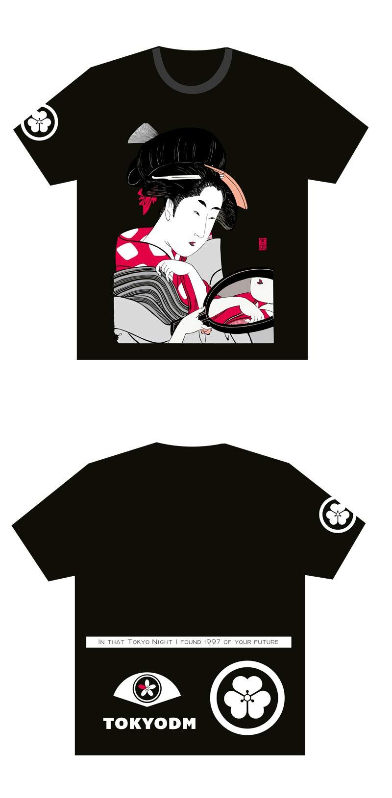 TOKYODM Japanese Ukiyo Geisha Cherry Blossom Printing Loose Black T-Shirt Short Sleeve Japanese Style Tee (s)