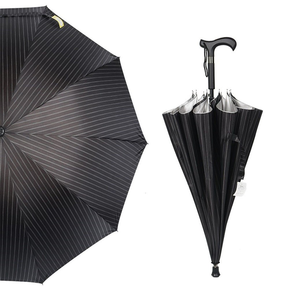 Guoke The Cane, Long Handle Double Fine Rain-Rugged Wind Resistant Slip-Elderly Gift Umbrellas, Black Streaks by Guoke (Image #1)