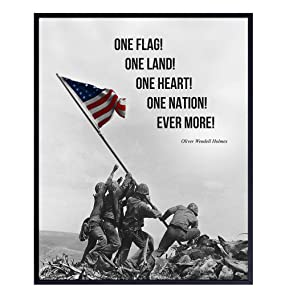 American Flag Iwo Jima Poster - 8x10 Patriotic US United States Marine Corps Wall Art Photo Print - Gift for Men, Military Veterans - Home Decor for Office, Living Room, Den, Man Cave