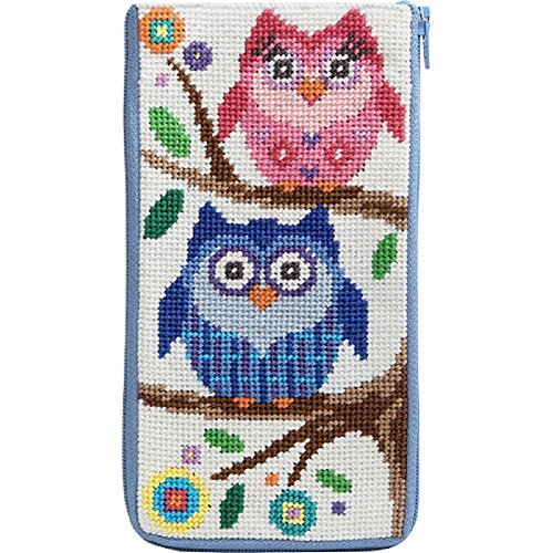 Glass Needlepoint Kit - Stitch and Zip Preassembled Needlepoint Kit to Make Eyeglass or Cellphone Case Owls