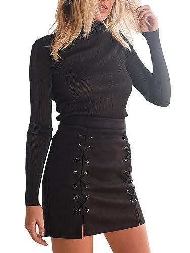 Simplee Apparel Las mujeres de cintura alta con cordones de ante Corte lápiz bodycon mini falda negr...