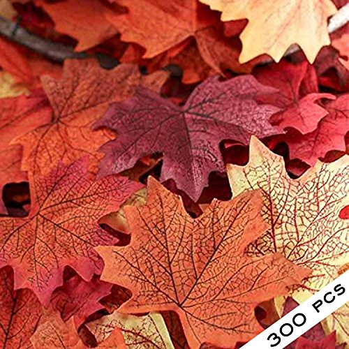 300 Assorted Mixed Fall Colored Artificial Maple Leaves for Weddings, Events and Decorating
