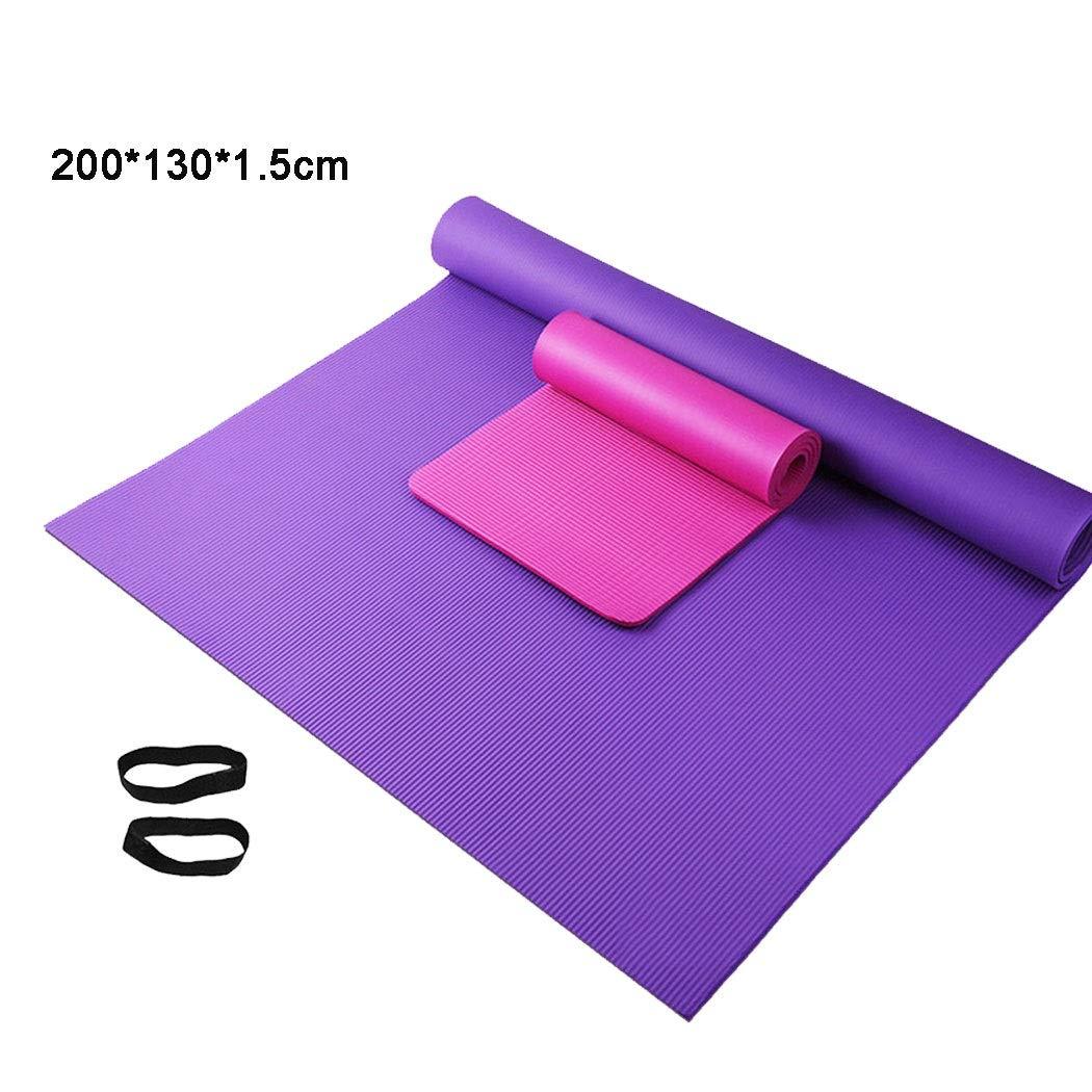 HUIFA スポーツヨガフィットネスマットピラティスマットNBRヨガマットの安全性と環境保護性を高めるために1.5メートル幅を広げたダブルヨガマット(紫、赤、青) 。 B07NYDTXBK 200cm*130cm*10mm Purple Purple 200cm*130cm*10mm