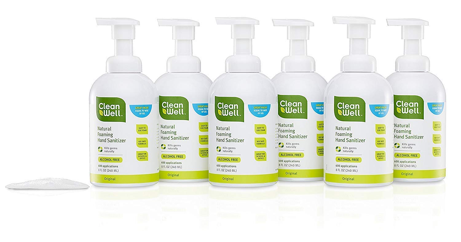 CleanWell Botanical Foaming Hand Sanitizer with Pump - Original Scent, 8 Ounces (Pack of 6) - plant-based, alcohol-free, kid friendly, kills germs botanically