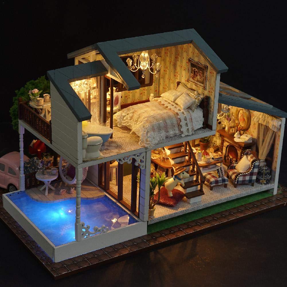 A Per DIY Dolls Houses Kit Minature Dollhouses Villa House Model HandAssembled Toy House for Kids Boys Girls Birthday Gift
