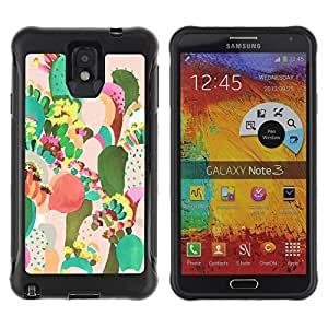 BullDog Case@ Cactus Painting Colorful Mexico Art Rugged Hybrid Armor Slim Protection Case Cover Shell For Note 3 Case ,N9000 Leather Case ,Leather for Note 3 ,Case for Note 3 ,Note 3 case