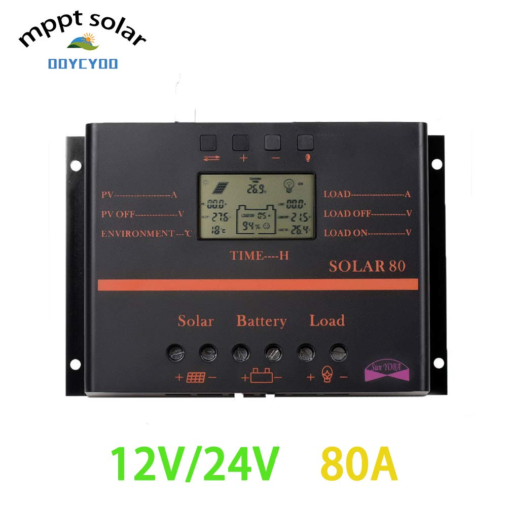 OOYCYOO 80A PWM Solar Charge Controller,80 amp Solar Panel Charge Regula 12V 24V Auto,12V/960W, 24V/1920W Input and Load TimerUsed for Lead-Acid Batteries