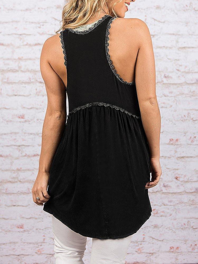 dd922d64dc6 Nulibenna Womens Ruffle Peplum Tank Tops Flowy Crew Neck Lace Summer  Sleveless T Shirts at Amazon Women s Clothing store