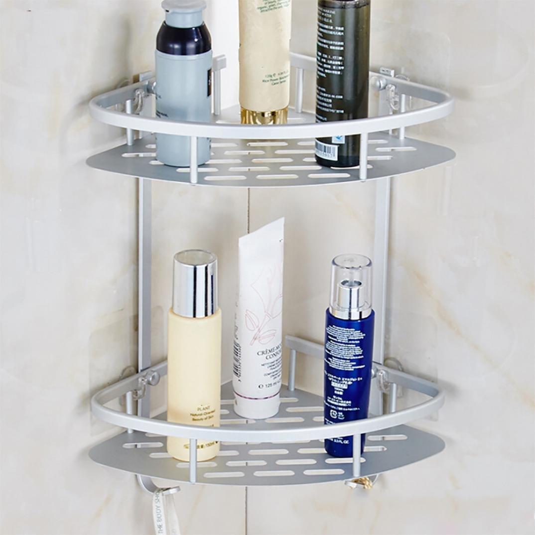 Dressupbeauty Bathroom Shelf (No Drilling) Durable Aluminum 2 Tiers Shower  Shelf Shampoo Basket Holder Kitchen Storage Basket Adhesive Suction Corner  ...