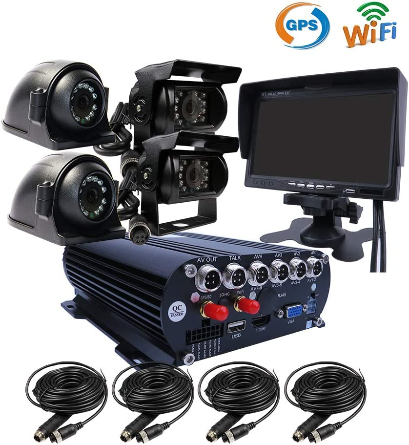 JOINLGO 4 Channel GPS WiFi 1080P AHD HDD Hard Disk Mobile Car DVR MDVR Video Recorder Kit Real-time Live View on PC Phone Webpage with 41080P Side Rear View IR Car Cameras 7 inches VGA Car Monitor