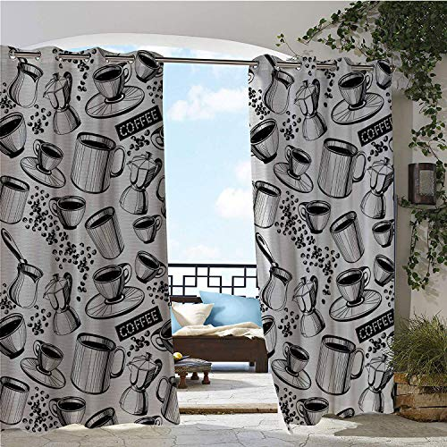 Candle Cup Mini Blend Coffee - Linhomedecor Balcony Waterproof Curtains Coffee Abstract Monochrome Coffee Sign Cups Beans and Moka Pot Pattern Hand Drawn Black White Porch Grommet Panel Curtains 84 by 96 inch
