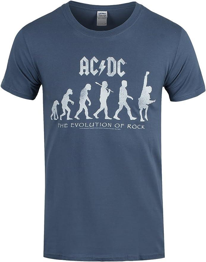 AC/DC Hombre Camiseta de la Evolución del Rock Azul: Amazon.es: Libros