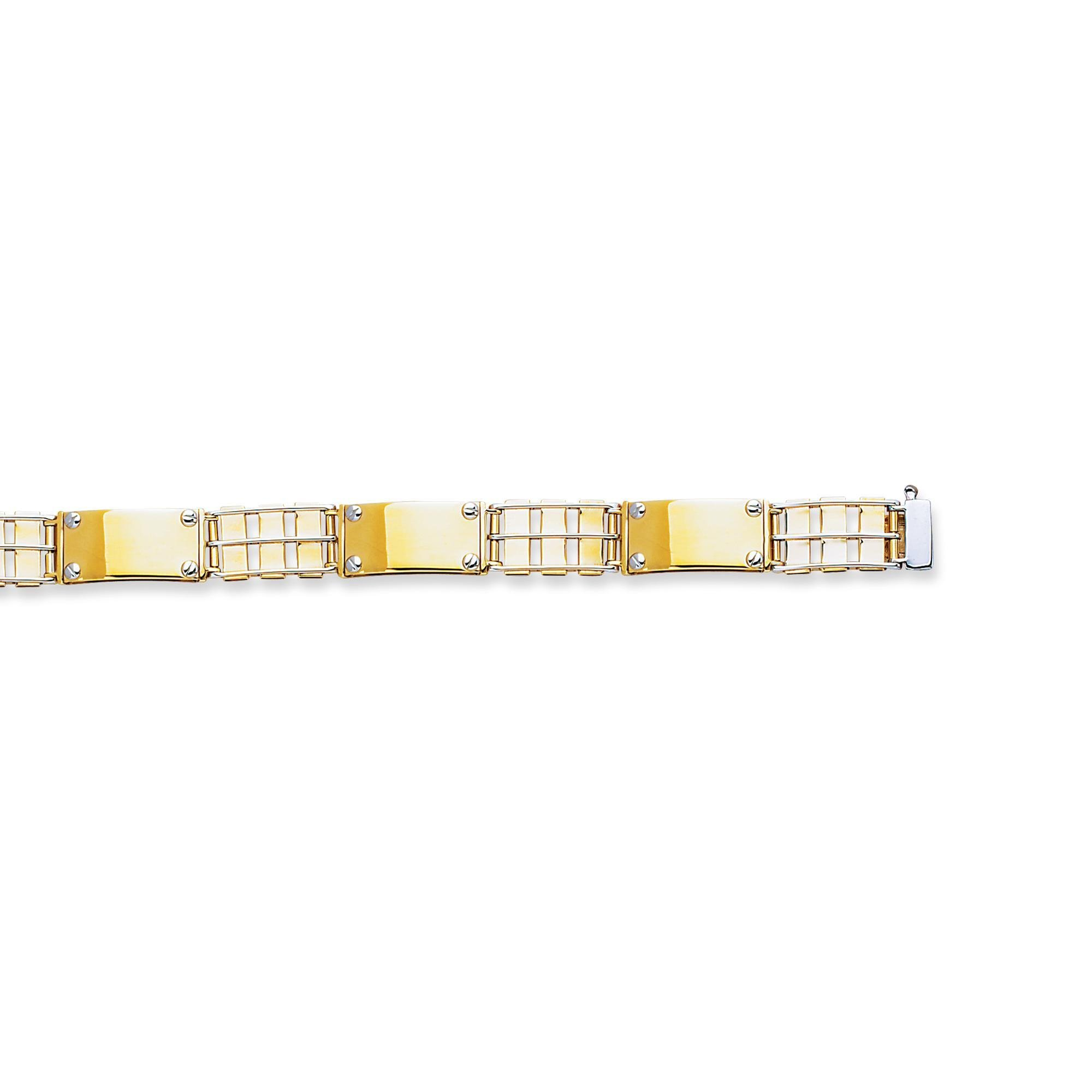 14k Two Tone Yellow And White Gold 8.5 Inch Polish Finish Rail Road Screw Bracelet