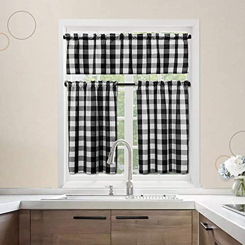 NATUS WEAVER 3 Pc Cotton Classic Country Farmhouse Kitchen Window Curtain -Black White Buffalo Check Tier Valance Set, 54 x 18 27 x 36