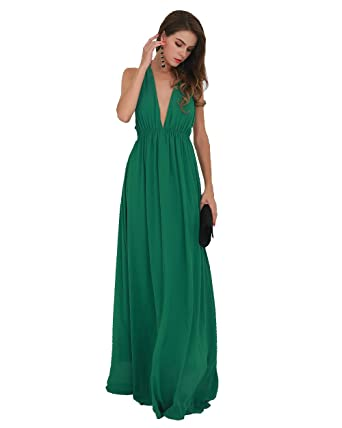 deb9e26c81e Miss ord Sexy Deep V Backless Sleeveless Cross Back Maxi Dress X-Small Green
