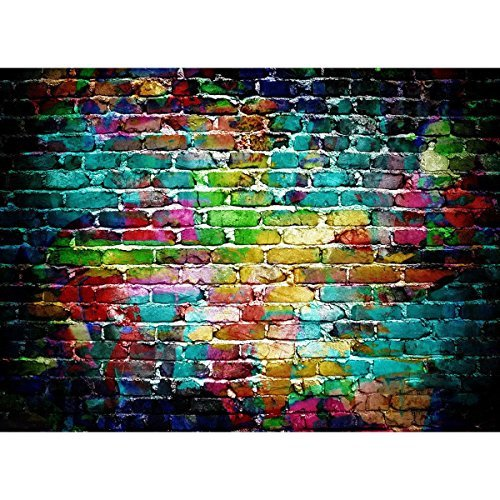 Mohoo 7x5FT Colorful Brick Wall Silk Photography Backdrop for Studio Prop Photo Background 2.1x1.5m (Graffiti Brick Wall)