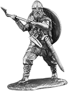 Ronin Miniatures Viking North Axeman Stamford Bridge Battle UnPainted Tin Metal Collection Toy Soldier Size 1/32 Scale Décor Accents 54mm for Home Collectible Figurines Best Gift Item #Vk-02