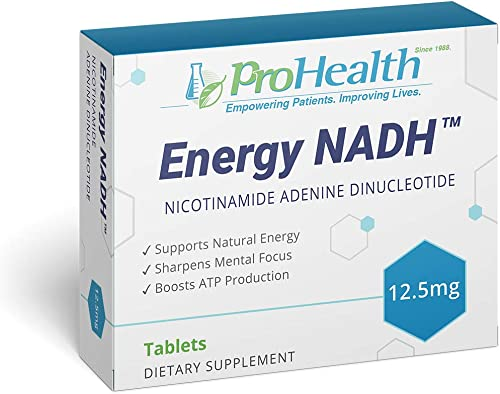 ProHealth Energy NADH 12.5 mg, 90 Tablets Boost Energy, Mental Clarity, Alertness and Concentration Unique Cellulose Matrix Coating for Enhanced Absorption Gluten Free Dairy Free Vegetarian