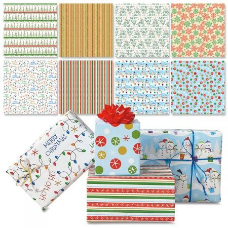 Christmas Patterns Flat Gift Wrap Value Pack- Set of 8, 22