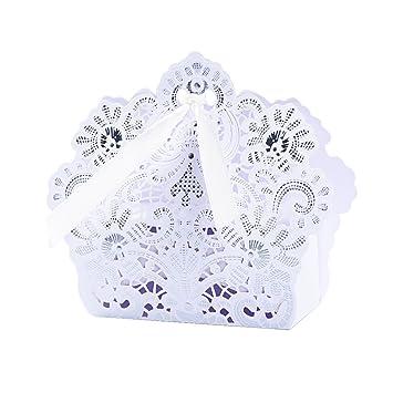50pcs Cajas Cajitas Papel de Caramelos Bombones Dulces Galletas Regalos Recuerdos Detalles para Invitados de Boda Fiesta Bautizo Cumpleaños (Blanco)