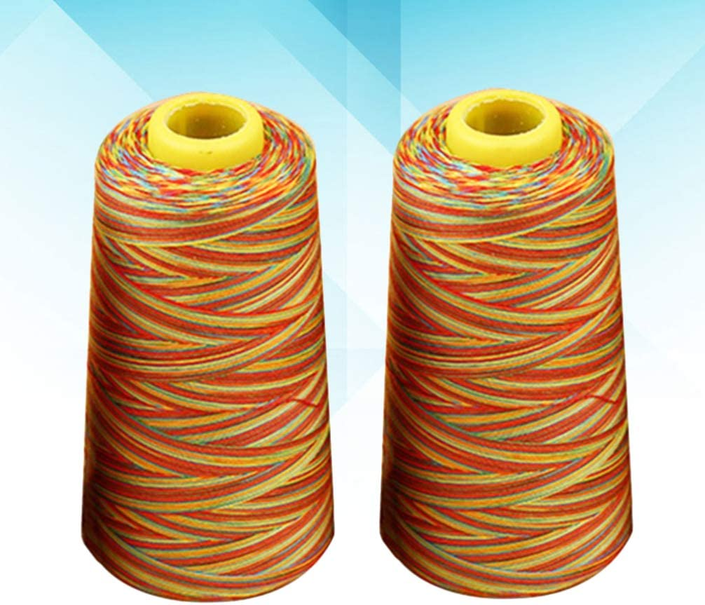 PRETYZOOM 2pcs Polyester Sewing String Colorful Bobbin Thread Cord Cone Serger Thread Spools for Embroidery Sewing Machine 3000 Yards Medium Thick